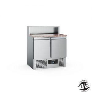KitchenMate-E Pizzawerkbank 2-deurs met koelopzetvitrine