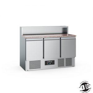 KitchenMate-E Pizzawerkbank 3-deurs met koelopzetvitrine